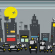 Vector de stock : Vector illustration of rush hour traffic with city buildings.