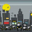 Stock Vector: Vector illustration of rush hour traffic with city buildings.