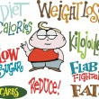 Vector cartoon of overweight man with cartoon signs — Vettoriali Stock