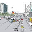 Vector illustration of Las Vegas strip with traffic and pedestrians — Stockvectorbeeld