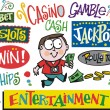 Vector cartoon of man winning money with casino signs. — Stock Vector