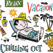 Vector cartoon of man relaxing on vacation. - Stock Vector