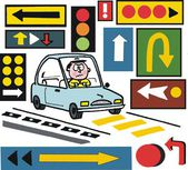 Vector cartoon of motorist with confusing road signs. — Stock Vector