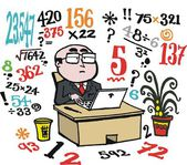 Vector cartoon of business man doing number calculations at desk. — Stockvector