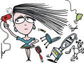 Vector cartoon of woman using hairdryer — Stock Vector