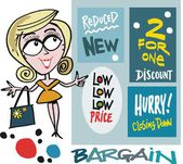 Vector cartoon of smiling woman with shopping bargain signs — Stock Vector
