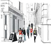 Vector illustration of old London buildings and pedestrians — Stock Vector