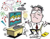 Vector cartoon of frustrated man with defective computer. — Stock Vector