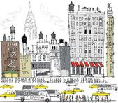 Vector illustration of Manhattan buildings, traffic and pedestrians, New York. — Stock Vector