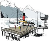 Vector illustration of historic steamship at wharf, Queenstown, New Zealand — Stock Vector