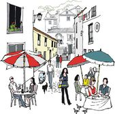 Vector illustration of street cafe and diners, Monchique, Portugal. — Stock Vector