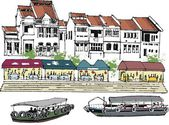 Vector illustration of old Singapore buildings, and river boats. — Stock Vector