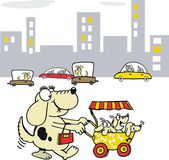 Vector cartoon of dog with puppies in stroller. — Stock Vector