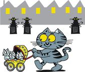 Vector cartoon of happy cat with kittens in stroller. — Stock Vector