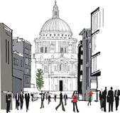 Vector illustration of pedestrians in city area, London England — Stock Vector
