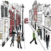 Vector illustration of pedestrians in old London street. — Stock Vector