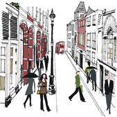 Vector illustration of pedestrians in old London street. — Stock Vector