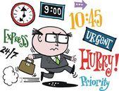 Векторный мультфильм ведения бизнеса Исполнительным придерживаться сроков. — Cтоковый вектор