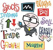 Vector cartoon of stock exchange trader with mobile phone. — Stock Vector