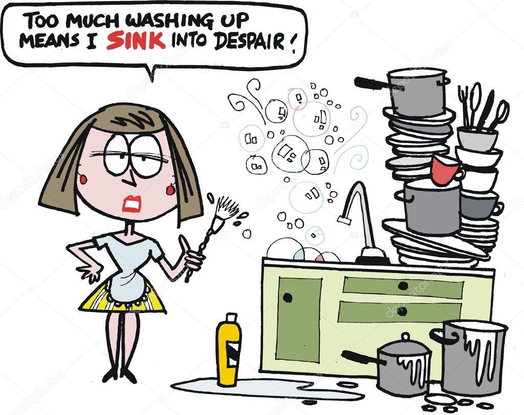 沮丧的家庭主妇洗盘子矢量卡通