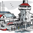 Vector illustration of boat marina with buildings and pedestrians. - Stock Vector