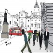 Vector illustration of pedestrians in city street, Whitehall, London — Stock Vector