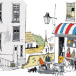 Vector illustration of old French cafe with diners, Europe. — Imagens vectoriais em stock