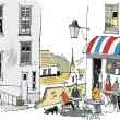 Vector illustration of old French cafe with diners, Europe. — Stok Vektör