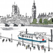 Vector illustration of river Thames and Westminster buildings — Векторная иллюстрация