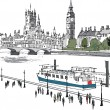 Stock Vector: Vector illustration of river Thames and Westminster buildings