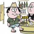 Vector cartoon of man drinking beer in Australian outback pub. — Imagens vectoriais em stock