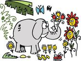 Vector cartoon of elephant with flowers in jungle — Stock Vector