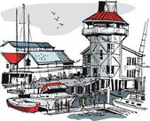 Vector illustration of boat marina with buildings and pedestrians. — Stock Vector