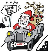 Vector cartoon of Santa Claus driving old vintage automobile — Stock Vector