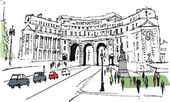Vector illustration of historic arch, London England with pedestrians. — Stock Vector