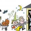 Vector cartoon of children dressed up at Halloween — Stock vektor