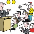 Vector cartoon of man giving television news conference — Stock Vector