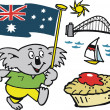 Vector cartoon of Australian koala bear with flag and meat pie — Stock Vector