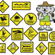 Vector cartoon showing funny Australian road signs and koala bear. - Stok Vektör