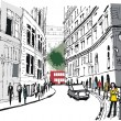 Vector illustration of pedestrians in Whitehall, London England — Stok Vektör