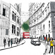 Vector illustration of pedestrians in Whitehall, London England — Stockvektor