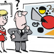Vector cartoon of man and woman looking at abstract art picture — Imagen vectorial