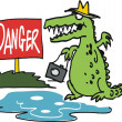 Vector cartoon of fierce crocodile lurking near danger sign. — Stock Vector