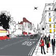 Vector illustration of London city street with pedestrians — Vector de stock