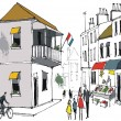 Vector drawing of street scene showing old buildings in French town with pedestrians. — Stockvectorbeeld