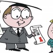 Vector cartoon of school teacher giving award to bright pupil - Stockvectorbeeld