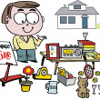 Vector cartoon of man selling items at garage sale. - Stock Vector