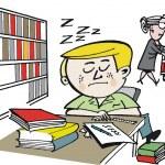 Vector cartoon of student asleep in library — Stock Vector #25778303