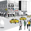 Vector illustration of New York street with traffic and people - Stok Vektör