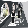 Vector illustration of monks in monastery — Stockvectorbeeld